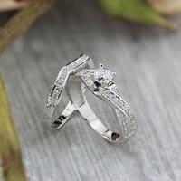 Auriya 14k Gold 3/4ct TDW Twisted Round Diamond Engagement Ring Set