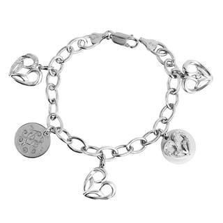 Bridal Symphony Sterling Silver 1/10CTtw Diamond Accent Heart Charm Bracelet (I-J, I2-I3)