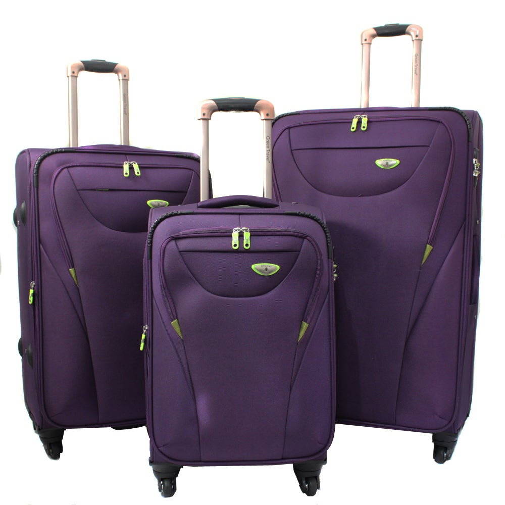 American Green Travel Purple 3-piece Expandable Spinner Luggage Set with TSA Lock