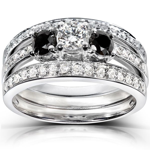 Annello by Kobelli 14k White Gold 1ct TDW Diamond 3-piece Bridal Ring Set (H-I, I1-I2)