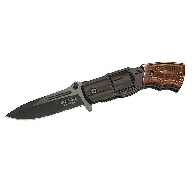 Defender 8-inch Spring-assisted Wood Detail Gun Handle Pocket Knife