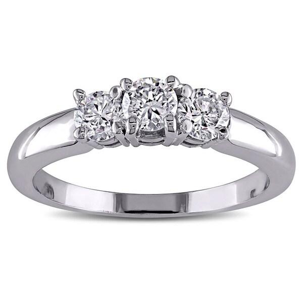 Miadora 14k White Gold 1ct TDW Diamond Three-stone Ring