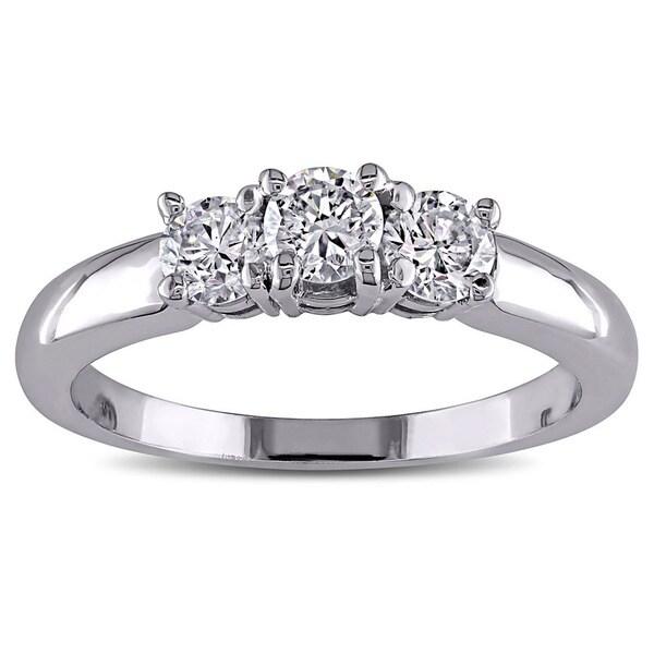 Miadora 14k White Gold 1ct TDW Diamond Three-stone Ring (G-H, I1-I2)