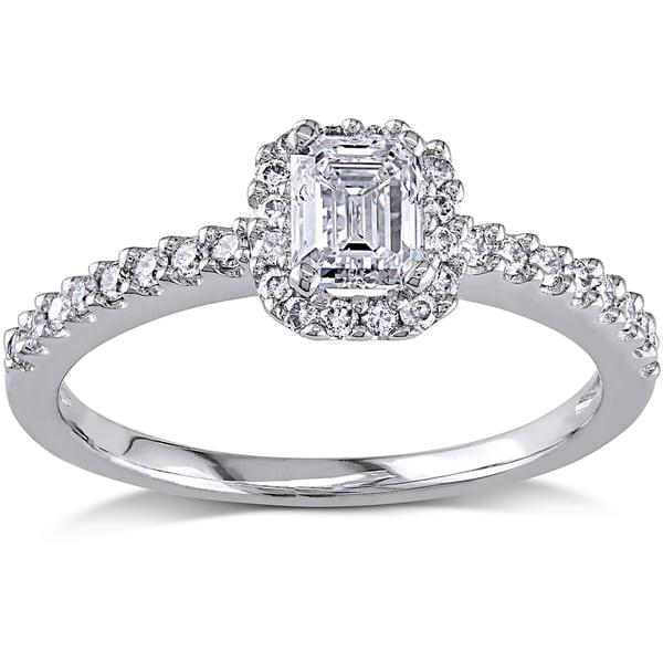 Miadora 14k White Gold 3/4ct TDW Emerald-cut Diamond Ring (H-I, I1-I2)