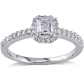 Miadora Signature Collection 14k White Gold 3/4ct TDW Emerald-cut Diamond Engagement Ring