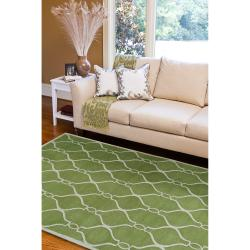 Hand-tufted Green Zunius Geometric Trellis Wool Rug (3'3 x 5'3) - Thumbnail 2