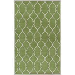 Hand-tufted Green Zunius Geometric Trellis Wool Rug (3'3 x 5'3)