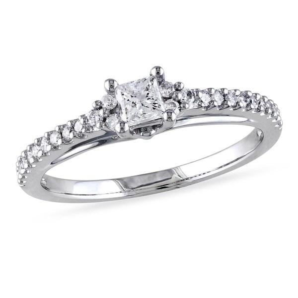 Miadora Signature Collection 14k White Gold 1/2ct TDW Princess-cut Diamond Engagement Ring
