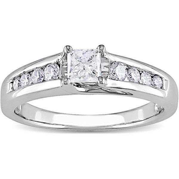 Miadora 14k Gold 1/2ct TDW Princess Cut Diamond Engagement Ring (IGL)