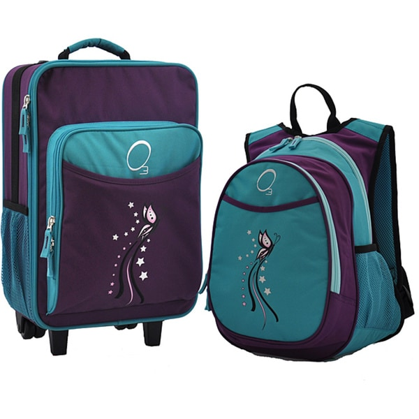 """O3 Kids """"Turquoise Butterfly"""" Pre-School 2-piece Backpack and Suitcase Carry On Luggage Set"""