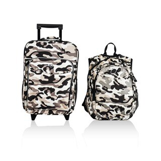 """Obersee Kids """"Camo"""" 2-piece Backpack and Carry On Upright Luggage Set"""