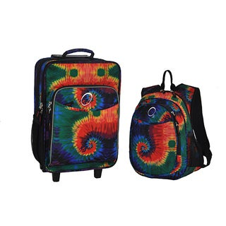 """O3 Kids """"Tie Dye"""" Pre-School 2-piece Backpack and Suitcase Carry On Luggage Set"""