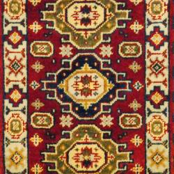 Indo Hand-knotted Kazak Red/ Navy Wool Rug (2' x 6'7)