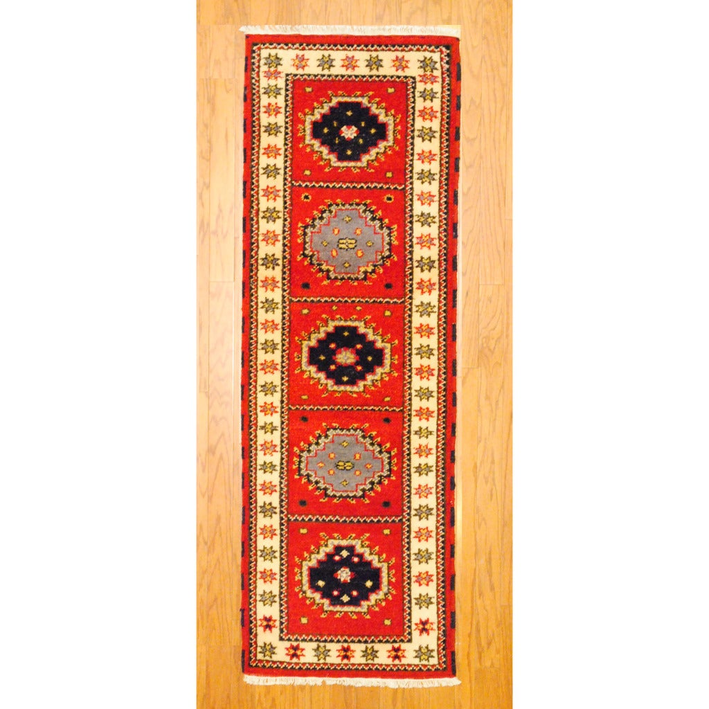 Indo Hand-knotted Kazak Red/ Navy Wool Rug (2'1 x 6'5)