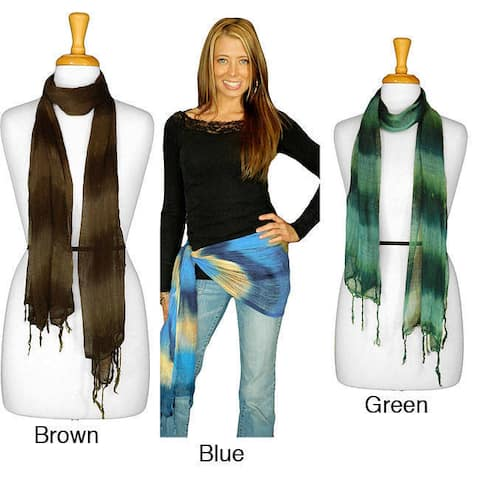 1 World Sarongs Women's Handmade Tie-dye 100-percent Rayon Gauze Scarf from Indonesia