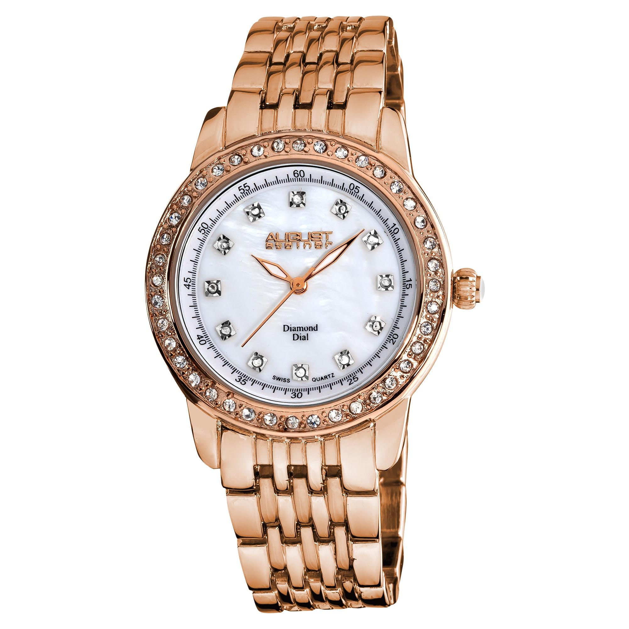 August Steiner Women's Diamond and Crystal Swiss Quartz Rose-Tone Bracelet Watch