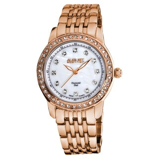 August Steiner Women's Diamond and Crystal Swiss Quartz Rose-Tone Bracelet Watch