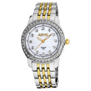 August Steiner Women's Diamond and Crystal Swiss Quartz Two-Tone Bracelet Watch with White Dial with FREE Bangle
