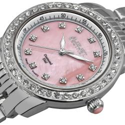 August Steiner Women's Diamond and Crystal Swiss Quartz Bracelet Watch with Pink Dial - Thumbnail 2