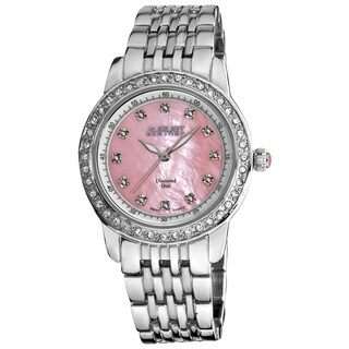 August Steiner Women's Diamond and Crystal Swiss Quartz Bracelet Watch with Pink Dial with FREE Bangle