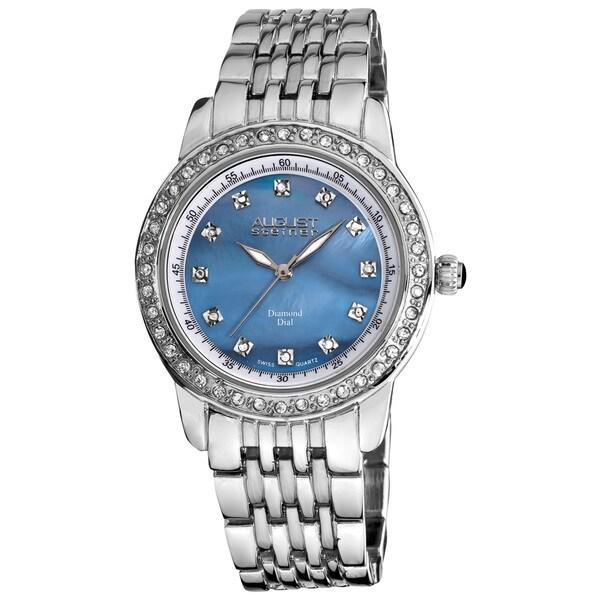 August Steiner Women's Diamond and Crystal Swiss Quartz Silver-Tone Bracelet Watch
