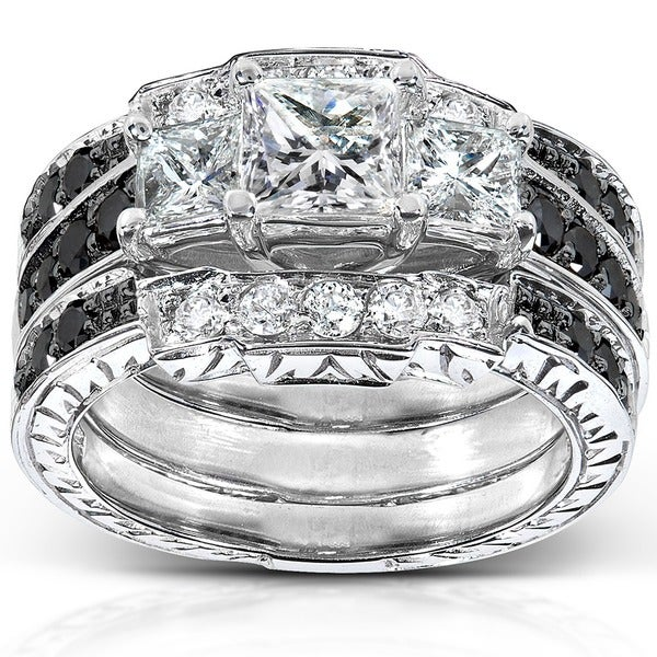 Annello 14k White Gold 1 7/8ct TDW Diamond 3-piece Bridal Ring Set