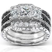 Annello by Kobelli 14k White Gold 1 7/8ct TDW Diamond 3-piece Bridal Ring Set