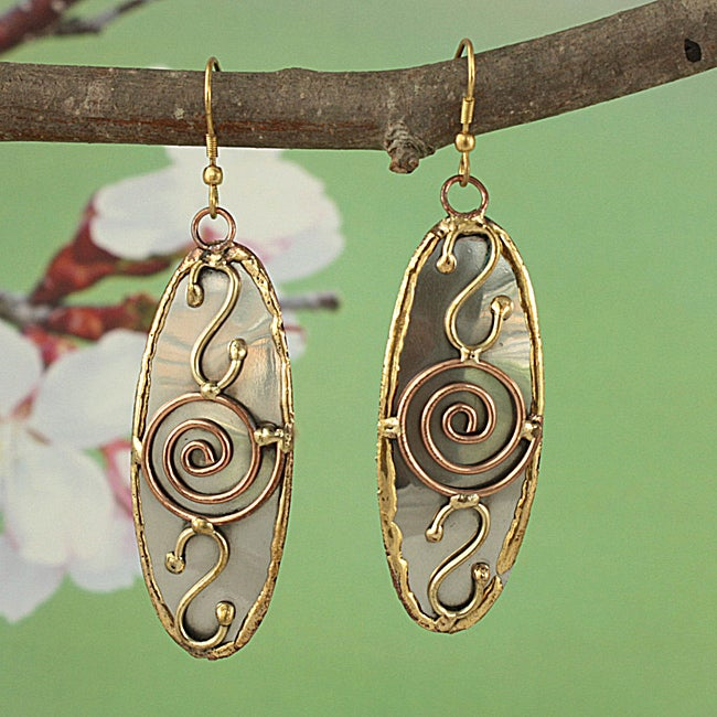 Handcrafted 3 Tone 'Dynamic Swirls' Oval Dangle Earrings (India)
