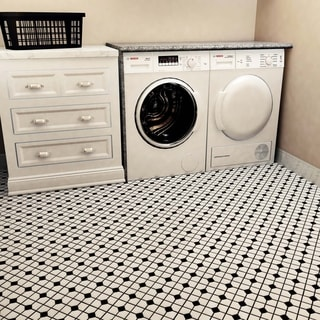 SomerTile 11.5x11.5-inch Cambridge Matte White with Black Dot Porcelain Floor and Wall Tile (Case of