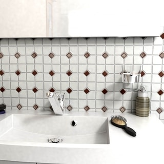 SomerTile 11.5-inch Cambridge Matte White with Maroon Dot Porcelain Floor and Wall Tile (Case of 10)