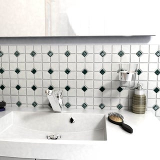 SomerTile 11.5-inch Cambridge Matte White with Green Dot Porcelain Floor and Wall Tile (Case of 10)