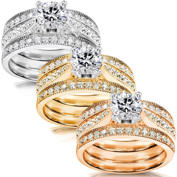Annello by Kobelli 14k White Gold 1 1/2ct TDW Diamond 3-piece Bridal Ring Set (H-I, I1-I2