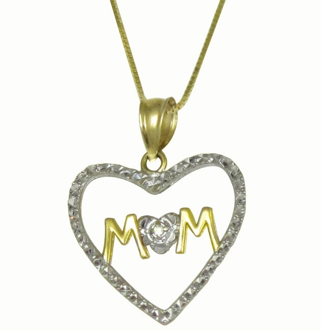 10k Two-tone Gold Diamond Cut Mom Pendant