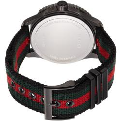 99511ba44a6 Shop Gucci Men s YA126229  G-Timeless  Dive Black Dial Nylon Strap Watch -  green RED - Free Shipping Today - Overstock - 6700716