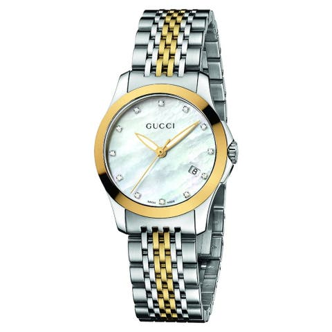 Gucci Women's 'Timeless' Mother of Pearl Diamond Dial Quartz Watch