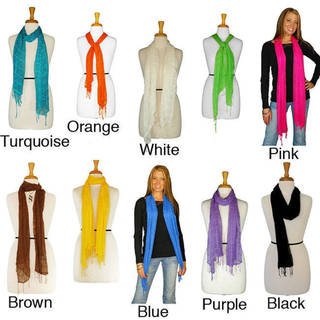 1 World Sarongs Women's Solid Color Gauze Scarf (Indonesia)