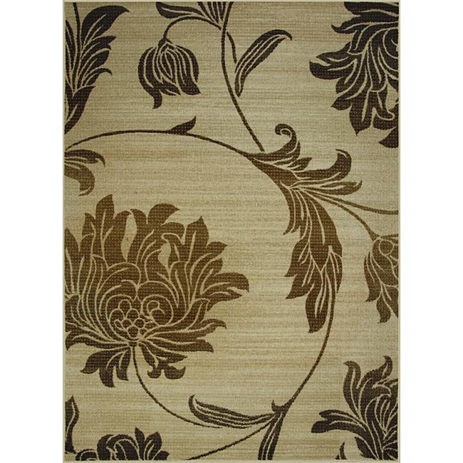 Somette Avante Peony Bouquet Beige Rug (5' x 7')