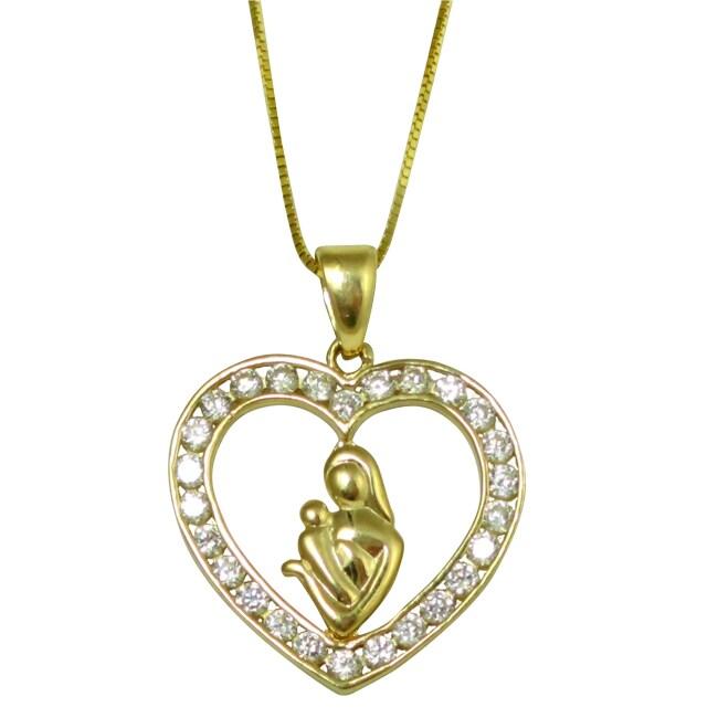 10k Yellow Gold Channel-set CZ Heart Pendant