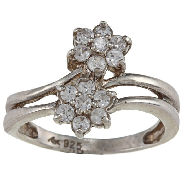 Sterling Essentials Sterling Silver Clear Cubic Zirconia Floral Ring