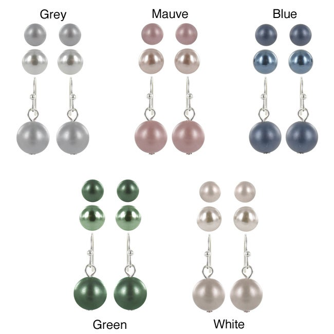 Roman Silvertone Faux Pearl 3-pair Stud and Dangle Earring Set