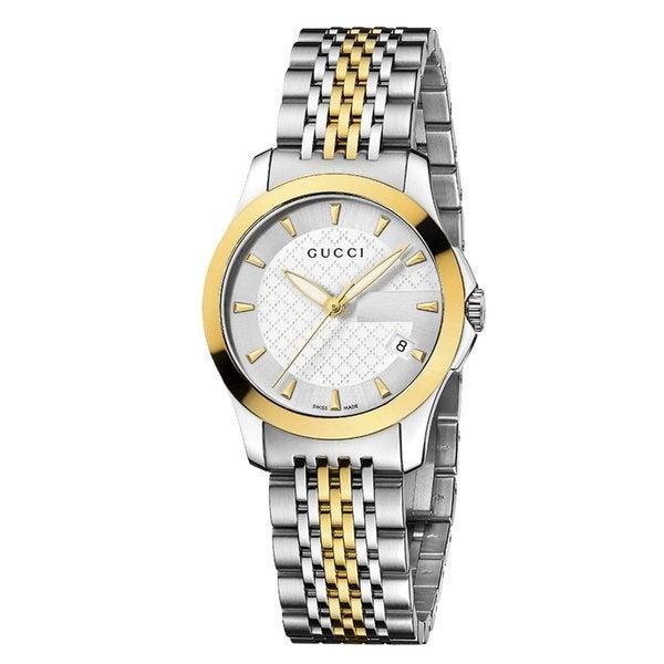 Gucci Women's YA126511 'Timeless' Silver Dial Two Tone Bracelet Quartz Watch