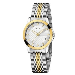 Gucci Women's YA126511 'Timeless' Silver Dial Two Tone Bracelet Quartz Watch