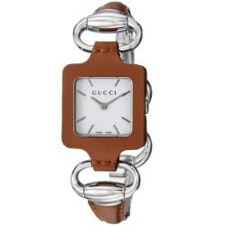 Gucci Women's YA130401 '1921' Stainless Steel Brown Leather Bangle Watch