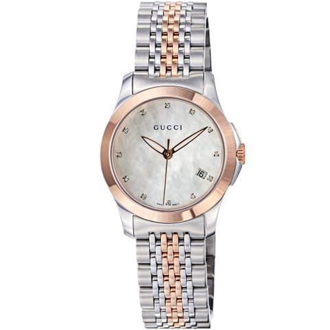 Gucci Women's 'Timeless' Mother of Pearl Dial Two Tone Quartz Watch - Blue/Red/White