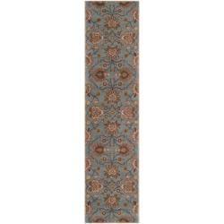 Hand-tufted Blue Kiser Wool Rug (3' x 12')