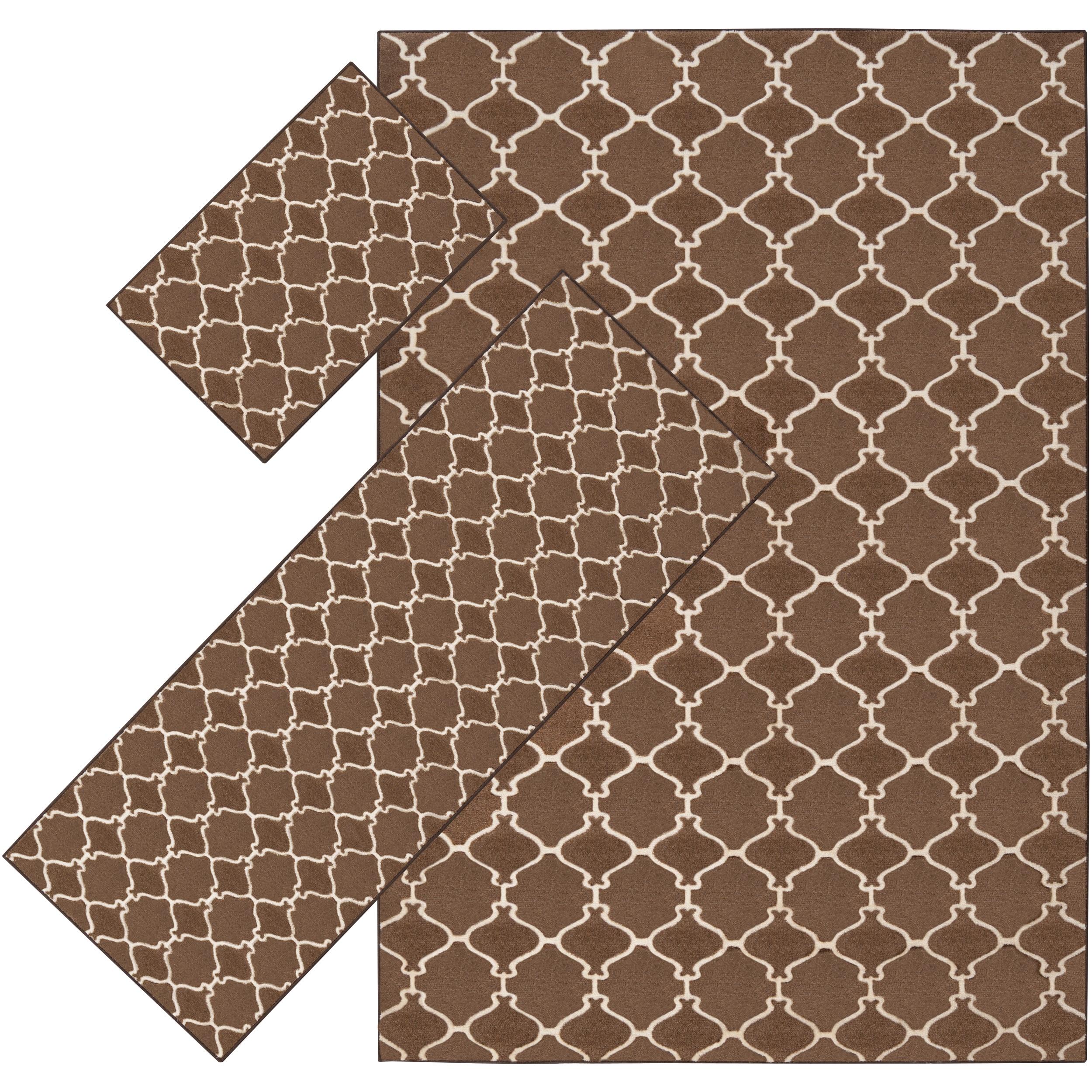 Woven Brown Tabluar 3-piece Rug Set - 5' x 8'