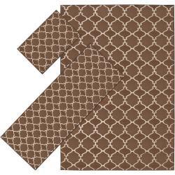 Woven Brown Tabluar 3-piece Rug Set - 5' x 8' - Thumbnail 0