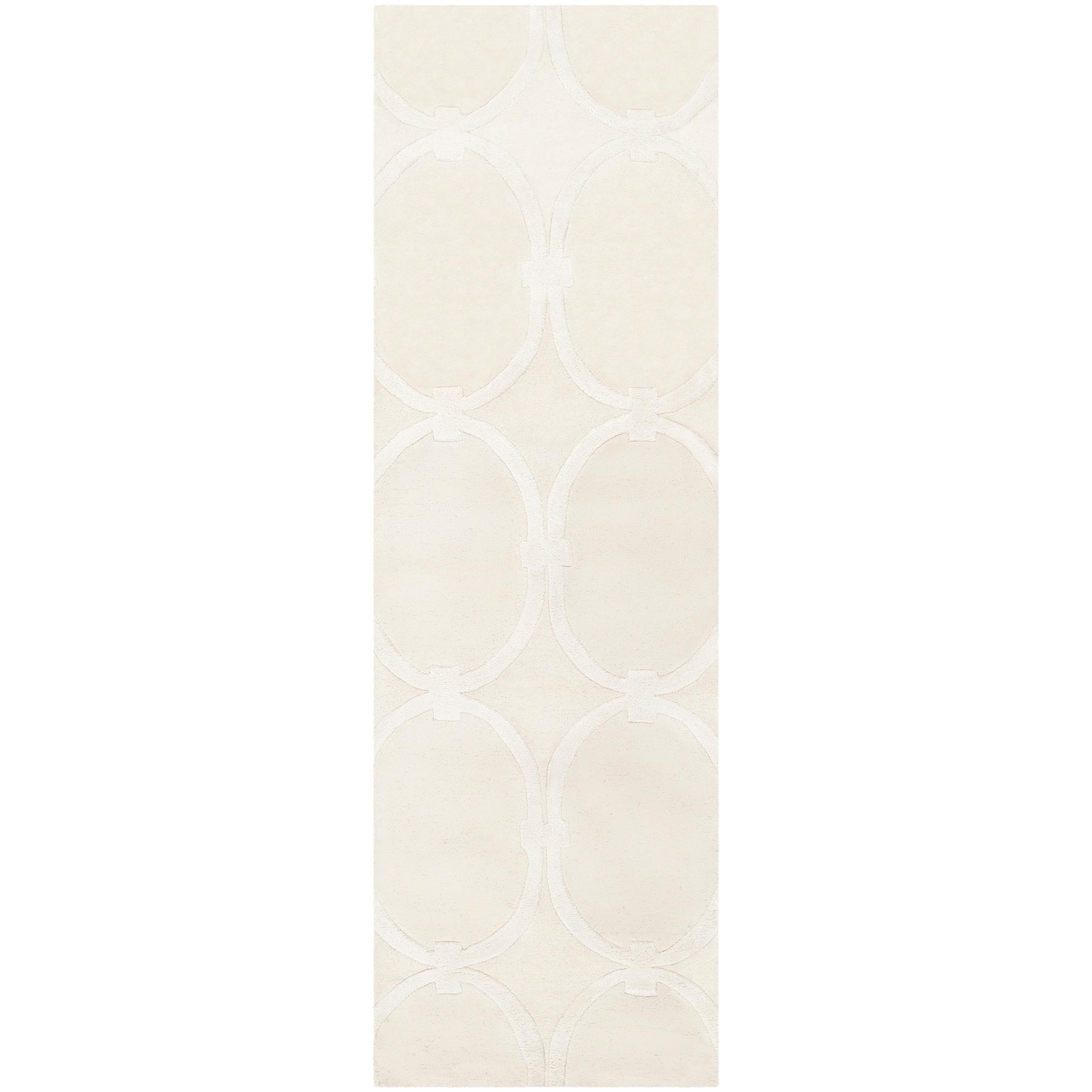 Hand-tufted White Cane Trellis Pattern Wool Rug (2'6 x 8')