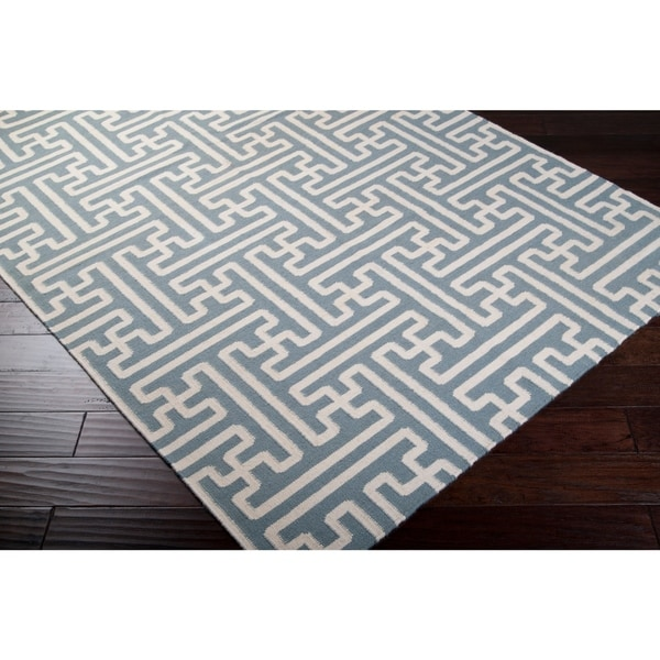Hand-woven Gray Anchorage Wool Area Rug - 2'6 x 8'
