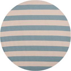 Hand-hooked Blue Rancie Indoor/Outdoor Stripe Rug (8' Round)